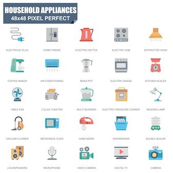 Eenvoudige set van huishoudelijke apparaten gerelateerde vector plat pictogrammen
