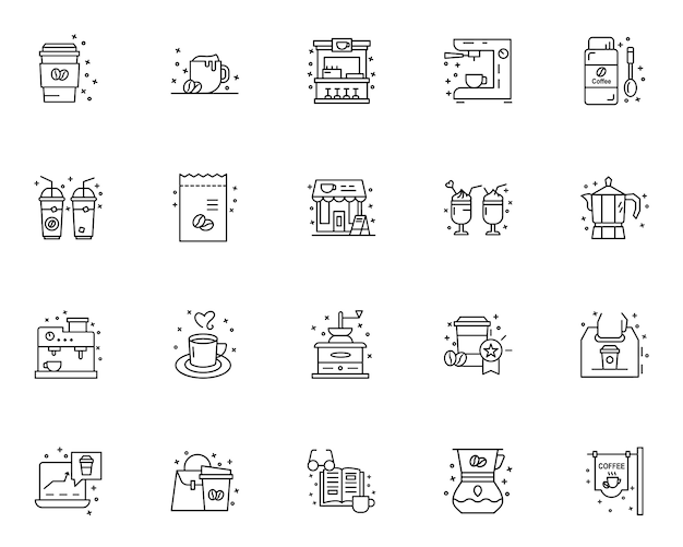 Eenvoudige set van koffie gerelateerde pictogrammen in lijnstijl