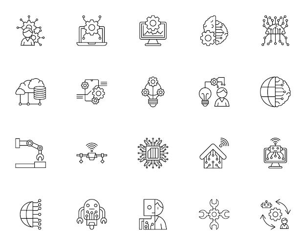 Eenvoudige set van kunstmatige intelligentie gerelateerde pictogrammen in lijnstijl