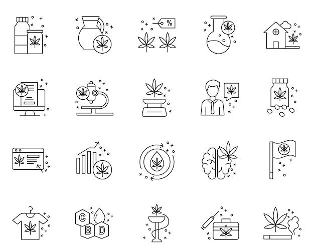 Eenvoudige set van marihuana-elementen gerelateerde pictogrammen in lijnstijl