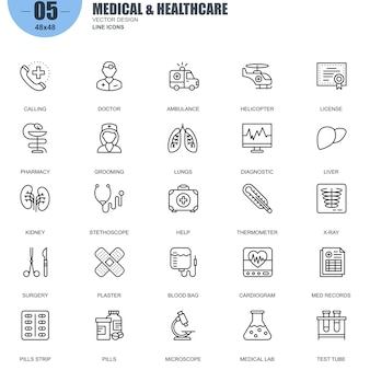 Eenvoudige set van medische en gezondheidszorg
