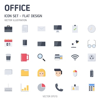 Eenvoudige set van office gerelateerde vlakke stijl iconen