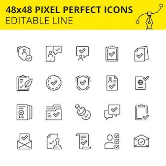 Eenvoudige set van pictogrammen voor het goedkeuringsproces in het bedrijfsleven en het markeren van verschillende mijlpalen als doorgegeven. pixel perfect pictogram, lijn. .