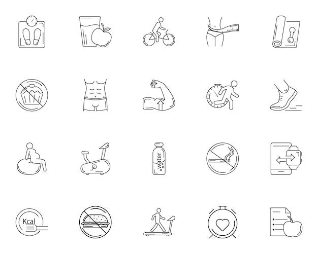 Eenvoudige set van sportschool pictogrammen