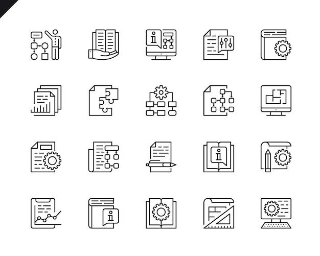 Eenvoudige set van technische documentatie gerelateerde vector lijn pictogrammen.