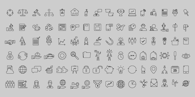 Eenvoudige set van vector dunne lijn bedrijfs- en kantoor pictogrammen