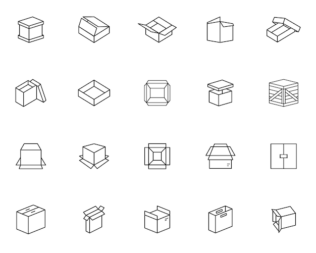 Eenvoudige set van verpakking gerelateerde pictogrammen in lijnstijl