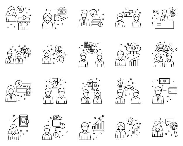Eenvoudige set van zakelijke elementen gerelateerde vector lijn pictogrammen