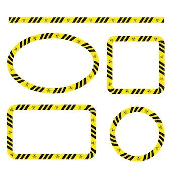 Eenvoudige set vector ovaal, rechthoek, cirkel, vierkante politielijn, frame voor uw elementontwerp