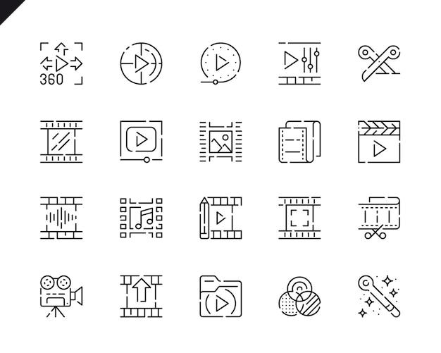 Eenvoudige set video editing line icons