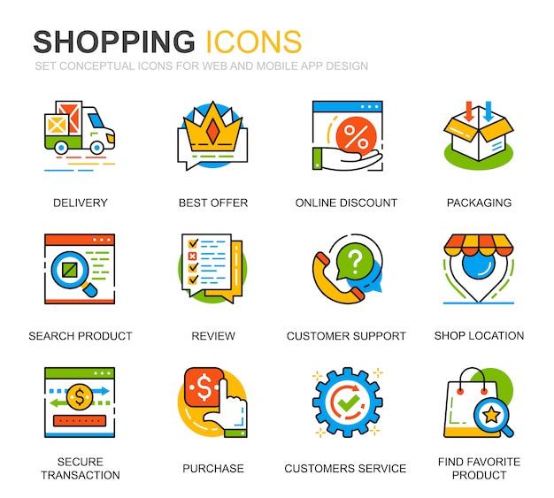 Eenvoudige set winkelen en e-commerce lijn iconen voor website