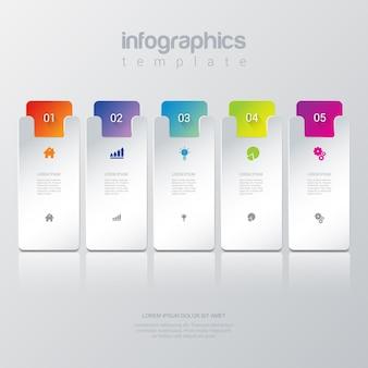 Eenvoudige stijlvolle 5 infographics sjabloon.
