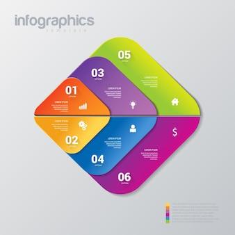 Eenvoudige stijlvolle 6 infographics sjabloon.
