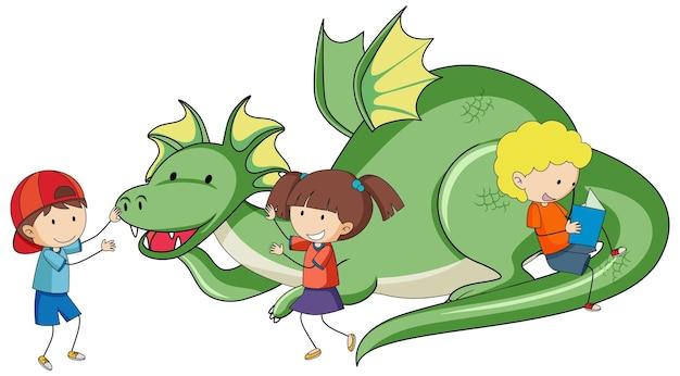 Eenvoudige stripfiguur van groene draak met veel kinderen geïsoleerd
