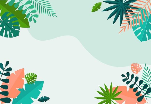 Eenvoudige tropische palm en motstera bladeren natuurlijk blauw