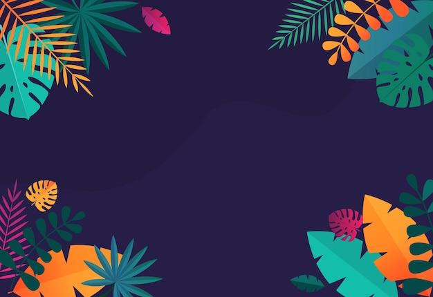 Eenvoudige tropische palm en motstera bladeren natuurlijke achtergrond