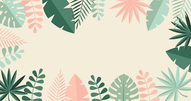 Eenvoudige tropische palm en motstera bladeren natuurlijke platte achtergrond