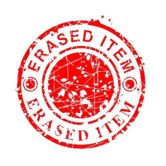 Eenvoudige vector, cirkel rode grunge rubberen stempel, gewist item, geïsoleerd op wit