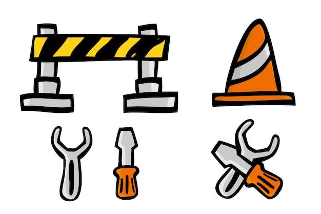 Eenvoudige vector doodle hand draw sketch under construction sign, geïsoleerd op wit