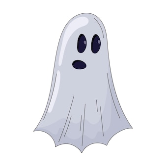 Eenvoudige vector geïsoleerde sticker van schattig spookkarakter van laken met gaten voor ogen en mond.