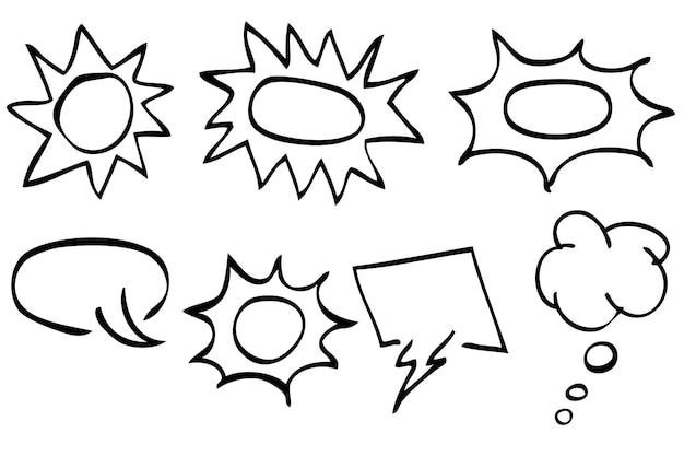 Eenvoudige vector hand draw sketch set van lege bubble chat en shout out symbool, geïsoleerd op wit