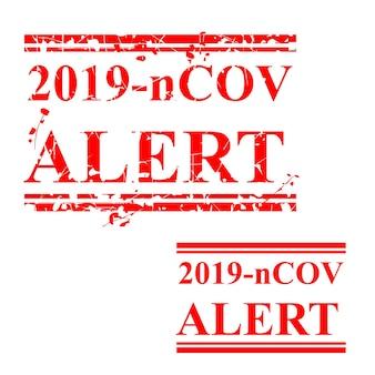Eenvoudige vector, kras rechthoek rode rubberstempel, waarschuwing, 2019-ncov of corona virus alert