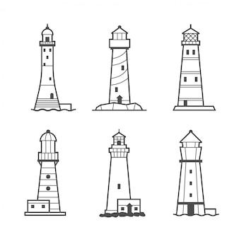Eenvoudige vector pictogram of logo set van vuurtorens