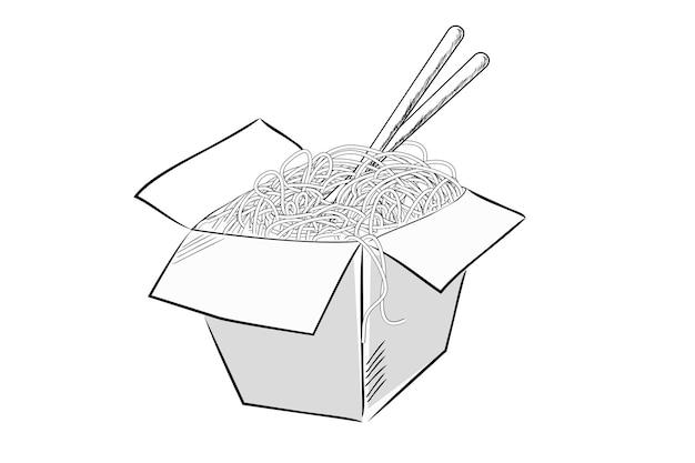 Eenvoudige vectorhandtekeningschets, noedels en eetstokjes