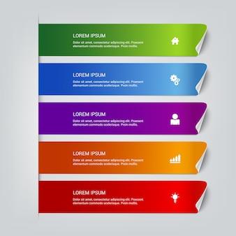 Eenvoudige veelkleurige kleverige stappen infographics regelsjabloon.