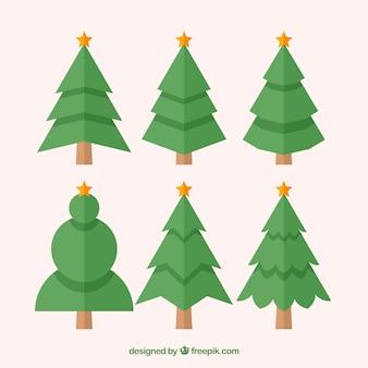 Eenvoudige verzameling kerstbomen in verschillende vormen