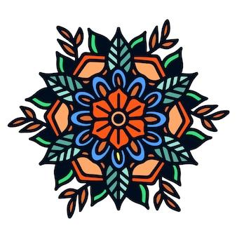 Eenvoudige vette mandala old school tattoo illustratie