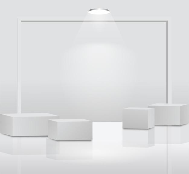 Eenvoudige vier podiumvertoning op witte achtergrond met doosconcept