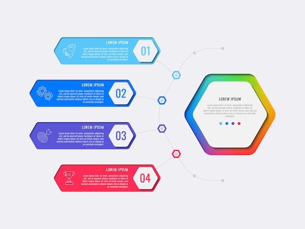 Eenvoudige vier stappen lay-out infographic sjabloonontwerp met zeshoekige elementen.