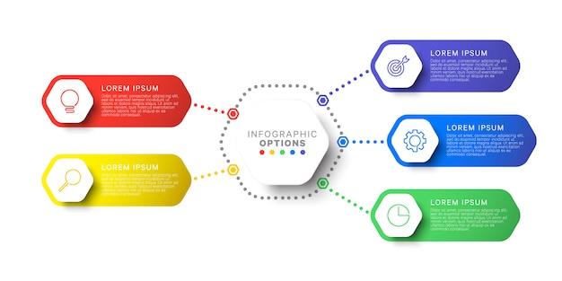Eenvoudige vijf stappen lay-out infographic sjabloonontwerp met zeshoekige elementen.