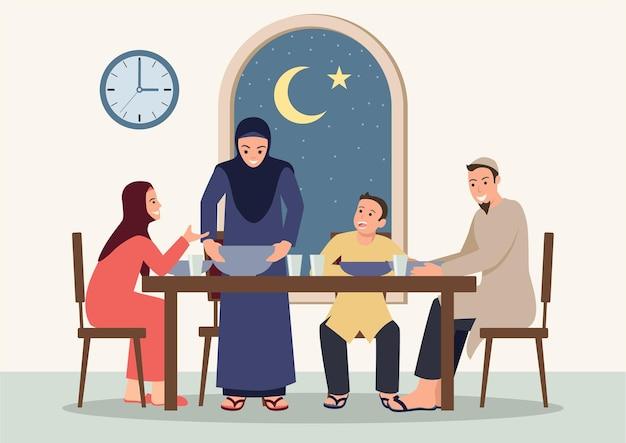 Eenvoudige vlakke illustratie van suhoor en iftar met familie tijdens de ramadan-maand