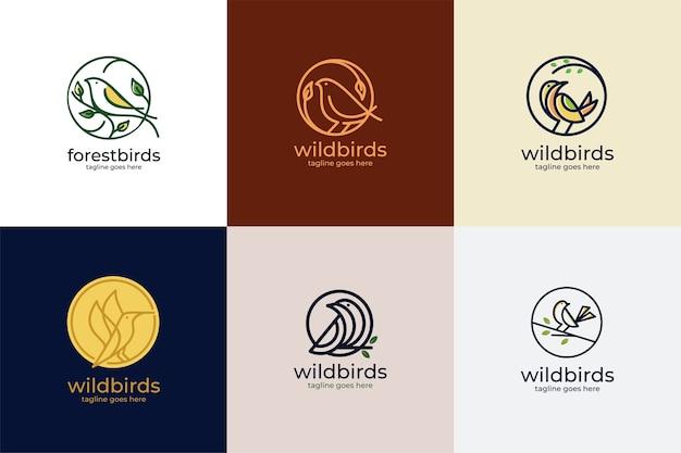 Eenvoudige vogel logo set
