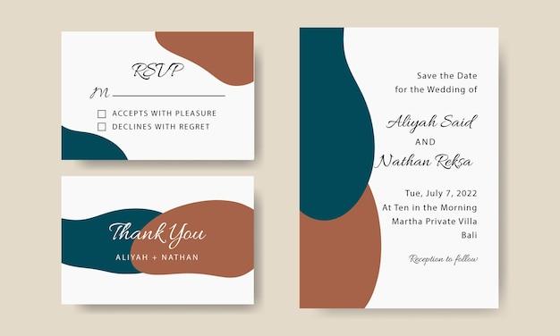 Eenvoudige vormen bruiloft uitnodiging kaartsjabloon bewerkbaar Premium Vector