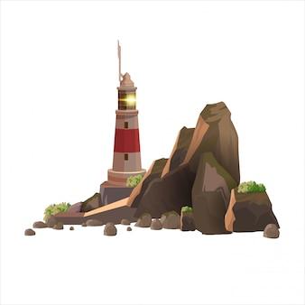 Eenvoudige vuurtorentoren op het rotsachtige eiland. bruin rotsachtig eiland met een vuurtoren op een witte achtergrond