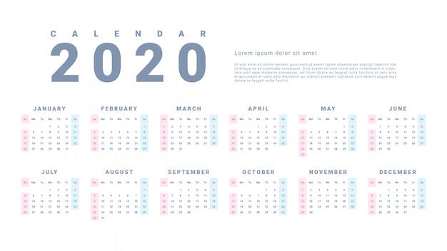 Eenvoudige wandkalender 2020