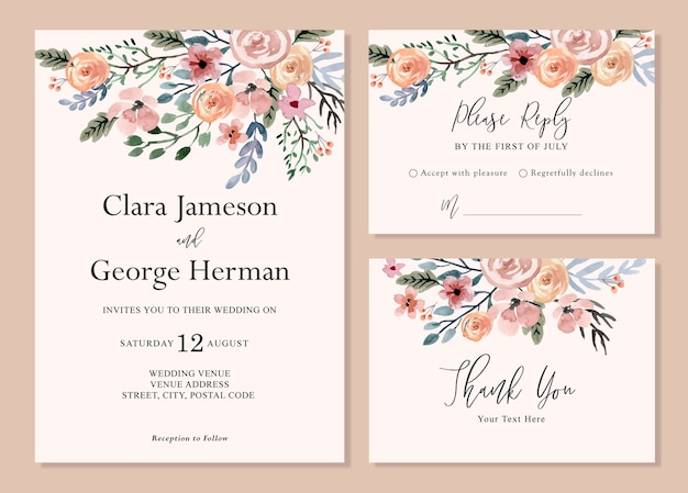 Eenvoudige zachte en dromerige bloemen aquarel bruiloft uitnodiging