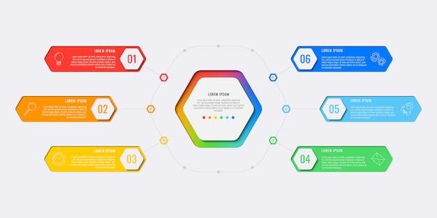 Eenvoudige zes stappen ontwerp lay-out infographic sjabloon met zeshoekige elementen.
