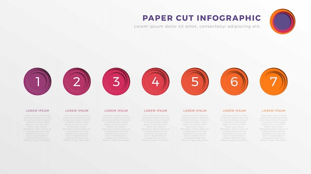 Eenvoudige zeven stappen infographic tijdlijnsjabloon met rond papier gesneden elementen.