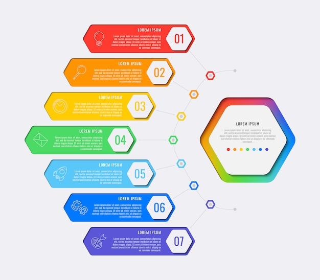 Eenvoudige zeven stappen ontwerpsjabloon lay-out infographic met zeshoekige elementen. bedrijfsproces diagram