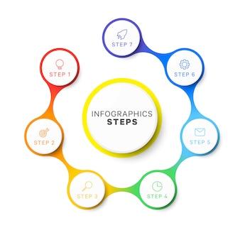 Eenvoudige zeven stappen ontwerpsjabloon lay-out infographic. proces diagram