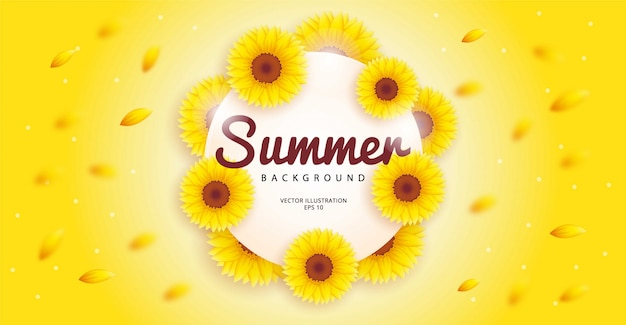 Eenvoudige zomer achtergrond met een bloeiende zonnebloem thema. illustratie sjabloon.