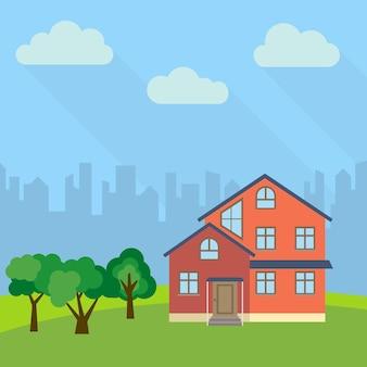 Eenzaam huis met drie verdiepingen in een veld met groene bomen. vector illustratie.