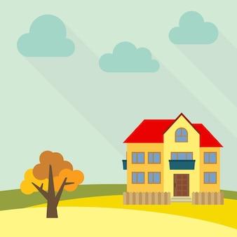 Eenzaam huis met twee verdiepingen in een veld met een gele boom. vector illustratie.