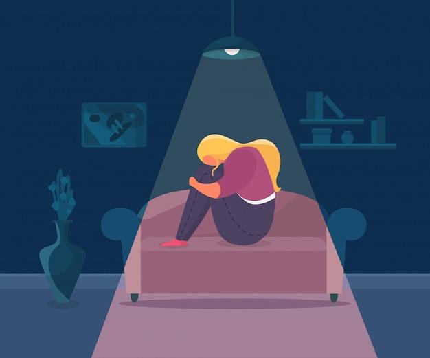 Eenzaamheid depressief meisje, illustratie. vrouw triest karakter alleen en stress thuis, ongelukkig persoon met boos emotie.