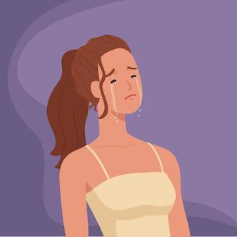 Eenzame en verdrietige vrouwen huilen.