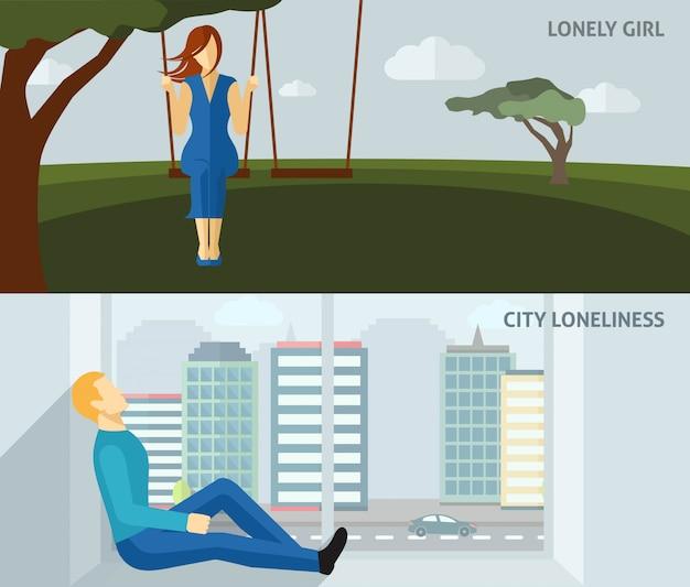Eenzame mensenbanner